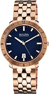 Mens 97B130 Blue Dial Rose Gold Stainless Steel Watch (Renewed)