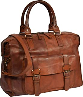Holdall Travel Duffle Real Leather Cabin Size Bag Lightweight HOL7799 Tan