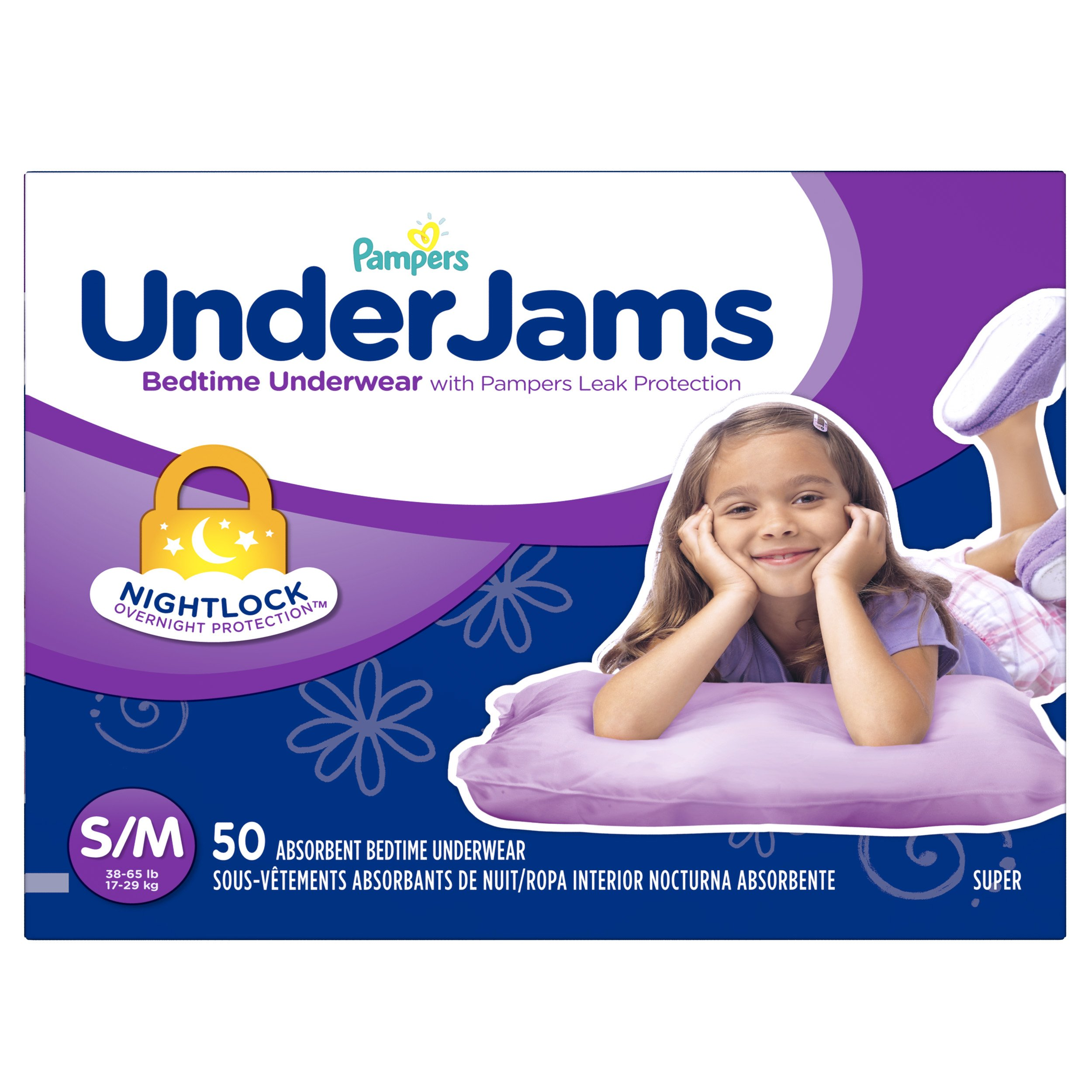 Pampers Underjams 女宝宝床上用品,小号/中号尿布,50 片 女孩 Size S/M, 50 Count 50