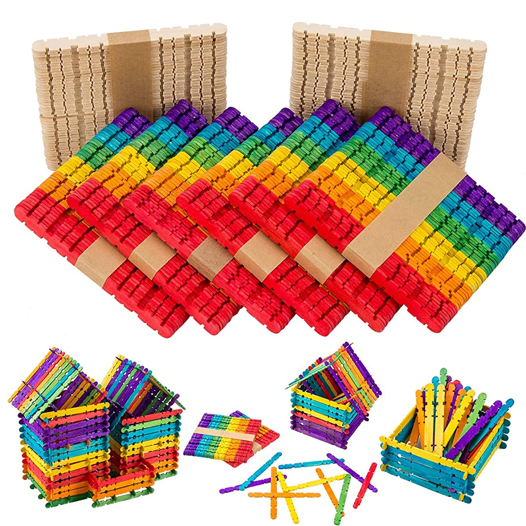 Farram 400PCS Sawtooth Wood Craft Sticks - Colorful Ice Cream Popsicle Sticks Used for DIY,Handcraft Model,Decoration,Craft Innovation Design,Children Education and More.