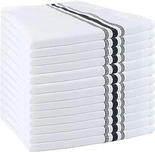 Arkwright Bistro Dinner Napkins Bulk Pack of 12, Professional Restaurant Quality Kitchen Dish Towels (18 x 22 Inch, Black)