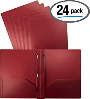 Better Office Products Burgundy Plastic 2 Pocket Folders with Prongs, 24 Pack, Heavyweight, Letter Size Poly Folders with 3 Metal Prongs Fastener Clips, Burgundy Red