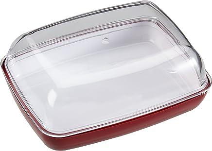 Emsa 505260 Butterdose, Kunststoff, 13.5 x 10 x 6 cm, Transparent/Rot, Vienna preisvergleich bei geschirr-verleih.eu