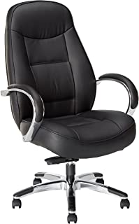 Lorell Hi-Back Executive Chair, 26-1/2 by 29 by 45-1/4-Inch to 49-1/2-Inch, Black Leather