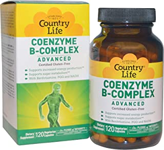 Country Life - Coenzyme B-Complex with Methylfolate, 120 Count, Energy Production & Sugar Metabolism, Gluten-Free Vegan Ca...