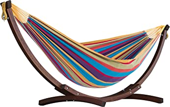 Vivere Double Cotton Hammock with Solid Pine Arc Stand- (Tropical)