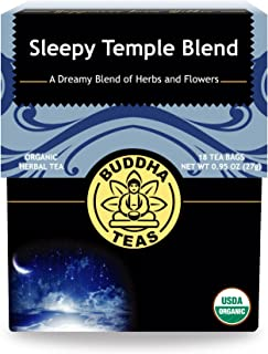 Organic Sleepy Temple Blend, 18 Bleach-Free Tea Bags – Organic Caffeine-Free Tea is a Great Source of Vitamins, Minerals, and Antioxidants, Supports Healthy Sleep, No GMOs