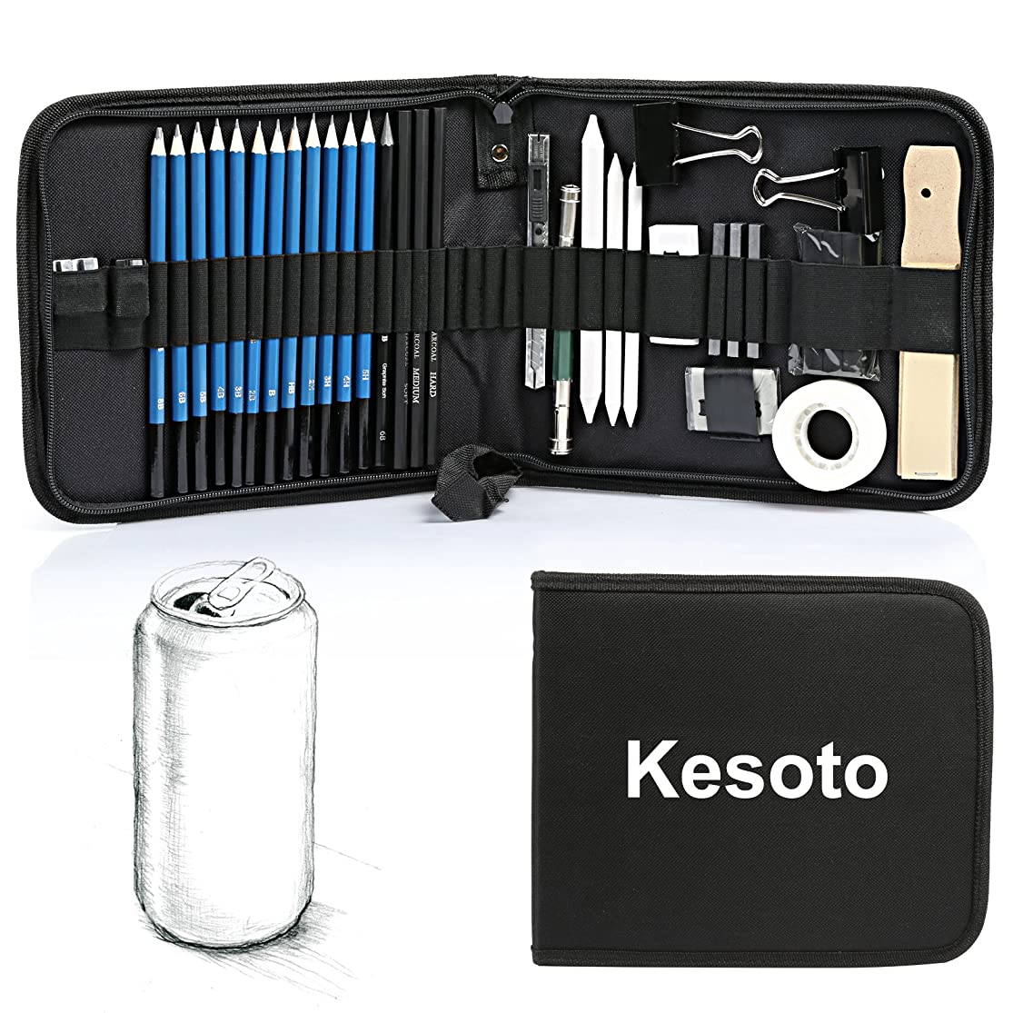 Kesoto 35 Pieces Art Supplies Drawing and Sketching Pencils Set with Graphite & Charcoal Pencils, Sticks and Tools ryskftma0