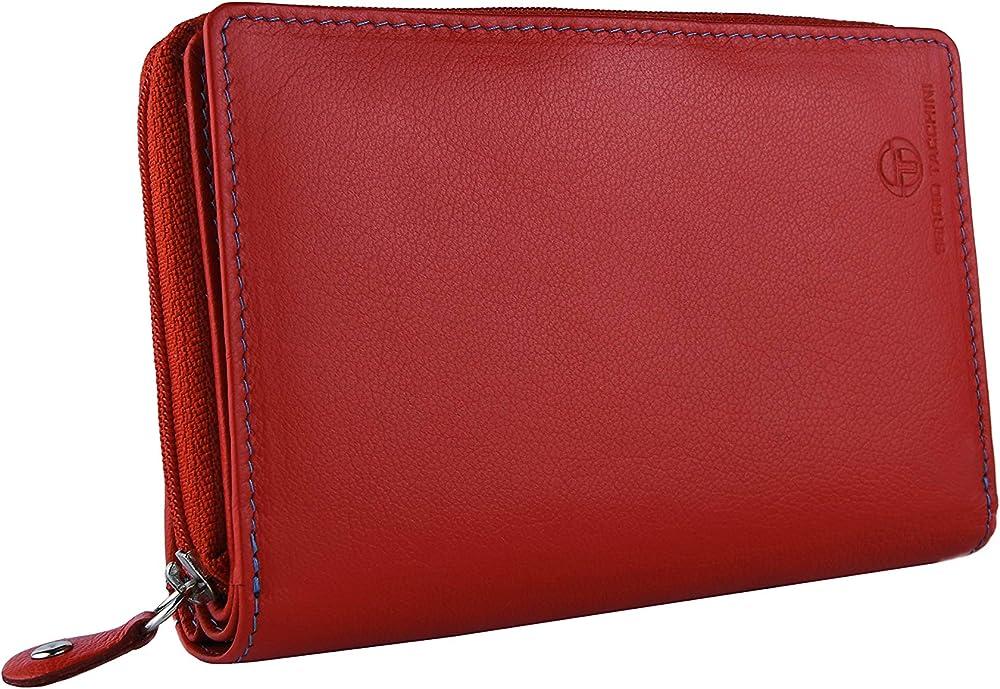 Sergio tacchini portafoglio donna con interno multicolore in vera pelle porta carte di credito in pelle rossa