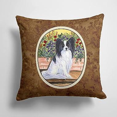 Caroline's Treasures SS8210PW1414 Papillon Decorative Canvas Fabric Pillow, 14Hx14W, Multicolor