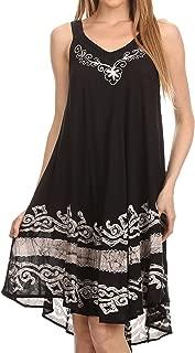 Sakkas Gasha Sleeveless Mid Length Caftan Dress with Embroidery Details and V Neck