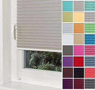Home-Vision Premium Plissee Faltrollo ohne Bohren mit Klemmträger / -fix Grau, B25cm x H100cm Blickdicht Sonnenschutz Jalousie für Fenster & Tür