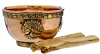 Alternative Imagination Tree of Life Copper Offering Bowl Kit. Includes Sand and Palo Santo (Holy Wood)