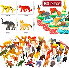 Animals Figure, 80 Piece Mini Safari Jungle Animals and Farm Animal Toys Set,Yeonha Toys Realistic Wild Vinyl Plastic Animal Learning Toys For Boys Girls Kids Toddlers Forest Party Favors Giveaway