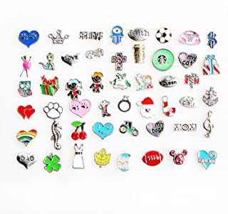 50 Pcs Mixed Random Floating Charms for Glass Living Memory Lockets Origami Owl Lockets DIY Wholesale Gold and Silve By Cinter.C