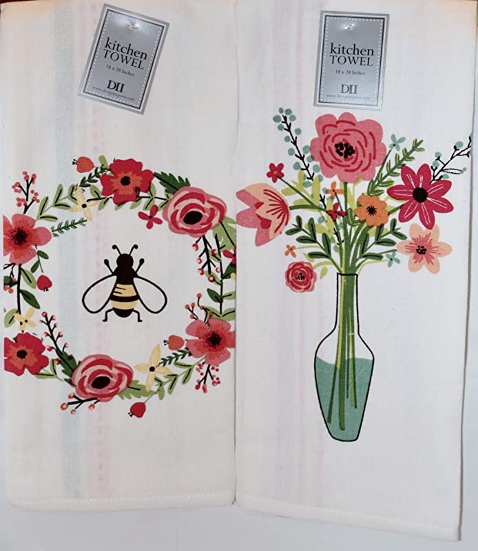 Design Imports DII Spring Summer Floral Printed Dish Towels Set Of 2 Honey Bee Wreath Flower Bouquet
