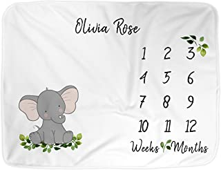 "Baby Milestone Blanket for Girl or Boy | Large 60x40"", Personalize Name Newborn Photo Blanket, Elephant Infant Month Blanket, Newborn Photography, Best Baby Shower Gift for New Moms (Animal)"