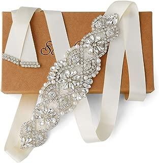 Bridal Sash Ivory Wedding Rhinestone Applique Belt Fashion Waist Belts Embellished