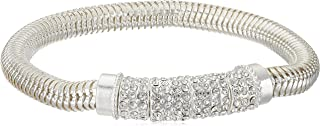Silver-Tone and Crystal Pave Stretch Bracelet
