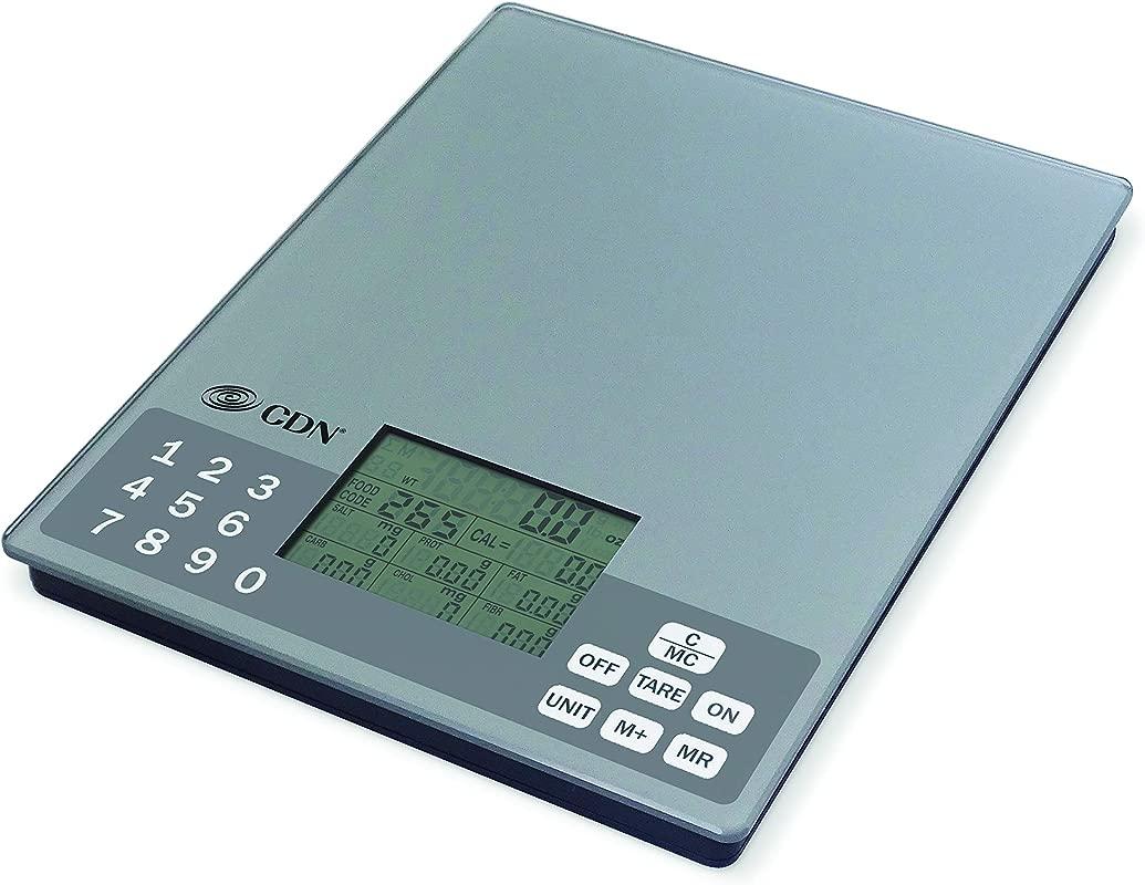 CDN SD1106 ProAccurate Digital Nutrition Portion Control Scale 11 Lb 5 Kg Silver Silver