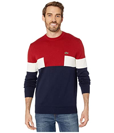 Lacoste Long Sleeve Color Block Cotton Sweater (Navy Blue/Alizarin/Mascarpone) Men