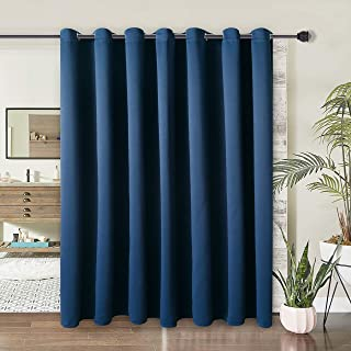 WONTEX Room Divider Curtain - Privacy Blackout Curtains for Bedroom Partition, Living Room and Shared Office, Thermal Insulated Grommet Curtain Panel for Sliding Door, 10ft Wide x 9ft Long, Navy
