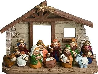 Miniature Kids Nativity Scene with Creche, Set of 12 Rearrangeable Figures
