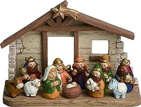 Colorful Little Manger Scene 4 x 6 inch Resin Christmas Nativity 12 Piece Set