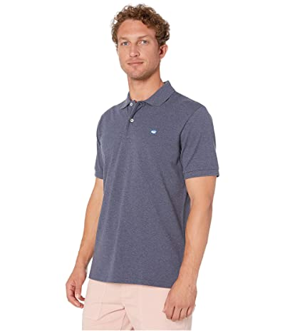 Southern Tide Heathered Skipjack Performance Pique Polo Shirt (Heather Madras Blue) Men