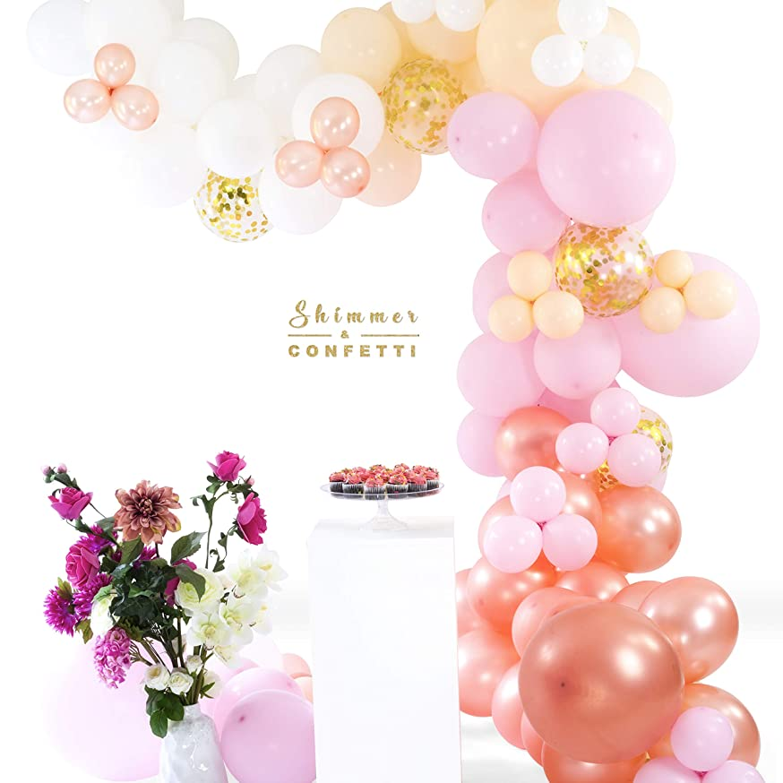 SHIMMER & CONFETTI Premium 16ft Pink Peach-Blush White Rose Gold & Gold Balloon Arch & Garland Kit | 130 Pink Peach-Blush White Rose Gold Balloons Sm Med Lg | 5 Confetti Balloons | 16' Balloon Strip