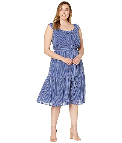 MICHAEL Michael Kors Plus Size Mini Railroad Maxi Dress (Twilight Blue) Women