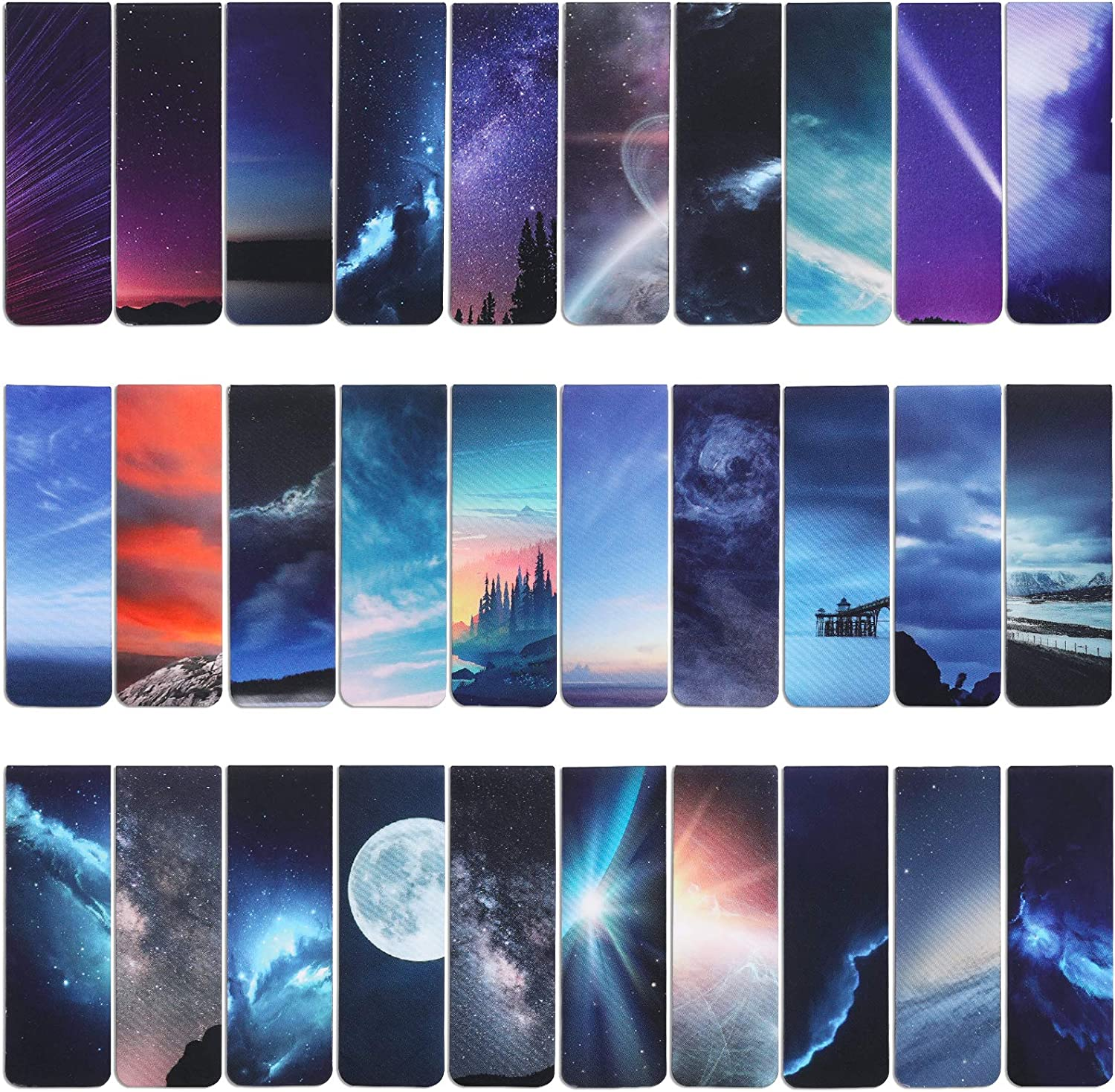 VETPW 30 Pieces Starry Sky Magnetic Max 47% OFF Moon trend rank Magne Bookmarks Aurora