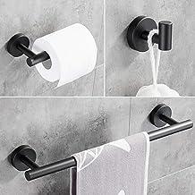 Hoomtaook Badzubehörset Schwarz Handtuchhalter für Badezimmer Wandmontage Badzubehör Set 3 in 1 Handtuchhaken Handtuchhalt...