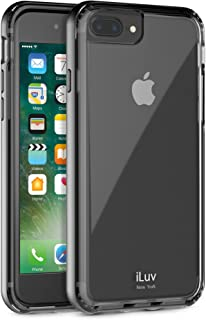 iLuv iPhone 8 Plus /iPhone 7 Plus Durable Dual Layer Protective Case with Metallic Polycarbonate Frame, Shock Absorbing Patterned TPU Back, Raised Lip On Edge, and Responsive Button Cover (Black)