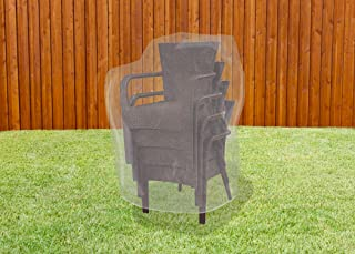 LAMINET Crystal Clear Heavy-Duty Waterproof Plastic Outdoor Furniture Cover - Hi-Back/Stacked Chairs Cover - 3 Season Prot...