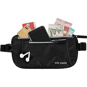 SAO ROQUE ® Flache Bauchtasche Hüfttasche mit RFID-Blockierung/enganliegend wasserfest/Damen Herren Geldgürtel Money Belt für Reisen Sport Outdoor Schwarz