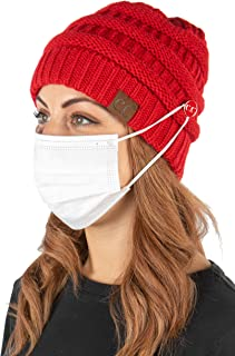 Funky Junque Women's Beanie Ribbed Knit Hat Chunky Slouchy Side Button Skullcap