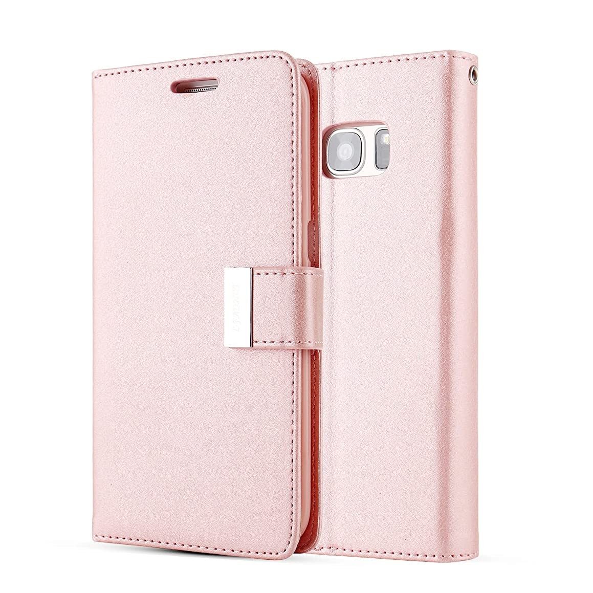 for Samsung Galaxy S5 Case,L-FADNUT Luxury Flip PU Leather Case,Dual Card Slots Metal Megnetic Closure Stand Wallet Card Holder Case Cover for Samsung Galaxy S5 - Rose Gold