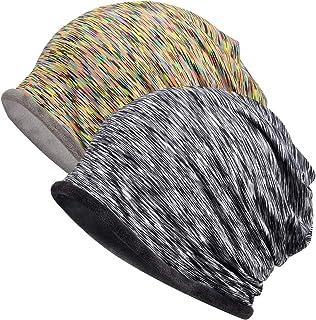 Jemis Womens Cotton Chemo Hat Beanie Scarf - Beanie Cap Bandana for Cancer (2 Pack Yellow & Grey - Velvet)