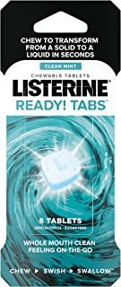 Listerine Ready! Tabs Chewable Tablets with Clean Mint Flavor, Revolutionary 4-Hour Fresh Breath Tablets to Help Fight Bad Breath On-the-Go, Sugar-Free, Alcohol-Free & Kosher, 8 ct