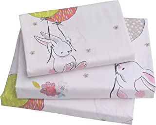J-pinno Cute Cartoon Rabbit Bunny Twin Sheet Set for Kids Girl Children,100% Cotton, Flat Sheet + Fitted Sheet + Pillowcas...