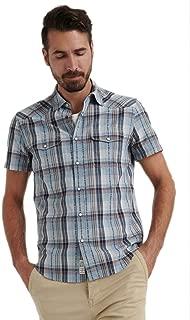 Men's Dobby Western Snap-Button Short Sleeves Blue-Multi