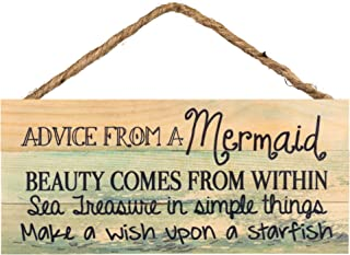 P. Graham Dunn Advice from a Mermaid Ocean Printed 10 x 4.5 Wood Wall Hanging Plaque Sign