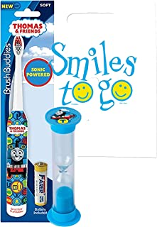 Thomas The Train 2pc Bright Smile Oral Hygiene Bundle! Sonic Powered Spin Toothbrush & Brushing Timer! Plus Dental Gift & Remember to Brush Visual Aid!