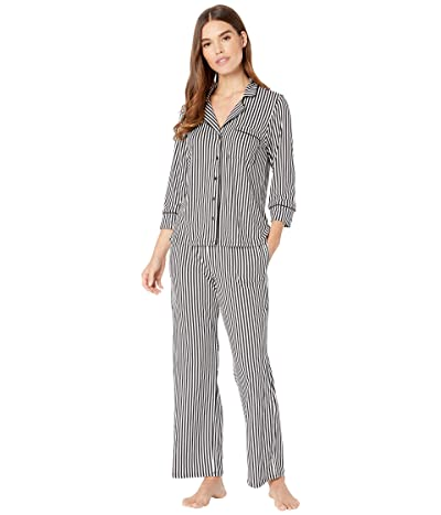 Kate Spade New York Brushed Jersey Long Pajama Set (Micro Stripe) Women