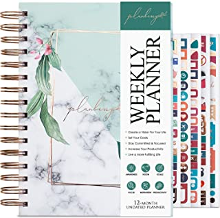 $22 » Sponsored Ad - PLANBERRY Weekly Planner – Elegant Life & Budget Planner to Hit Your Goals & Live Happier - Organizer & Productivity Journal – 6.9″ x 8.5″ Hardcover, Undated + Stickers (Natural Green)