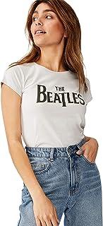 Cotton On Women's Graphic T-Shirt, Lcn App Beatles Logo/Vaporous Grey