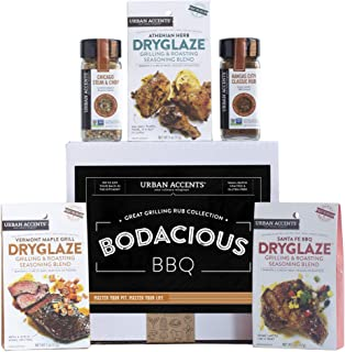 Urban Accents BODACIOUS BBQ, Gourmet BBQ Gift Baskets with Grilling Spices and Rubs (Set of 5) - A Dryglaze, Meat Spices a...
