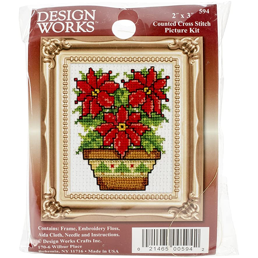 Tobin Poinsettias Ornament Counted Cross Stitch Kit, 2-Inch x 3-Inch