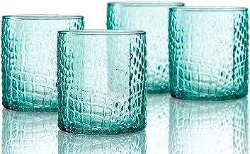 Elle Decor 229805-4OFGR Bistro Croc 4 Pc Set Old Fashion, Green-Glass Elegant Barware and Drinkware, Dishwasher Safe, 12.8 Oz,